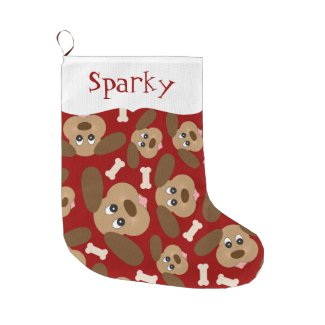 Cute Dog Faces Personalized Large Christmas Stocking
