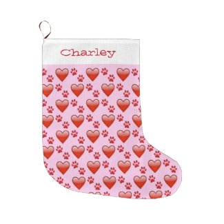Cute Red Hearts and Paw Prints Add Pet's Name Large Christmas Stocking