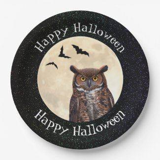 Owl and The Full Moon Paper Plate