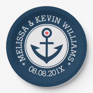 Blue & White Nautical Boat Anchor Wedding Design Paper Plate