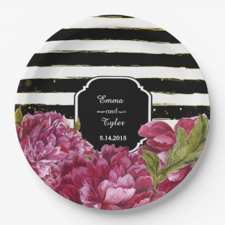 Pink Peony Floral Black White Stripe Paper Plates
