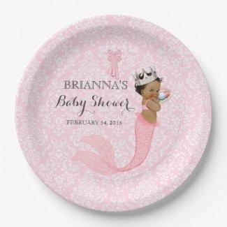 Ethnic Baby Girl Mermaid Princess Crown Damask Paper Plate