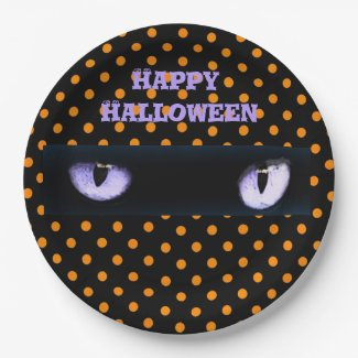 Happy Halloween Purple Cat's Eyes Orange Polka Dot Paper Plate