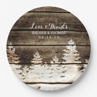 Rustic Barn Wood Pine Trees Winter Wedding Plates
