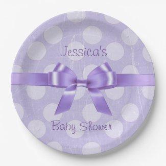 Personalize these Purple & White Polka Dot Plates