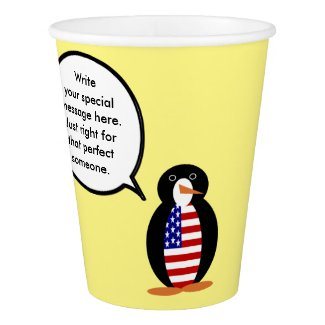 Zazzle Shops Talking Penguin USA Flag Paper Cup