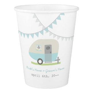 Blue Retro Trailer Wedding Cups Paper Cup