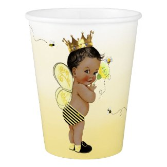 African American Boy Bumble Bee Baby Shower Paper Cup