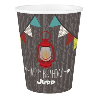 Red Lantern Camping Kids Birthday Party Cups Paper Cup