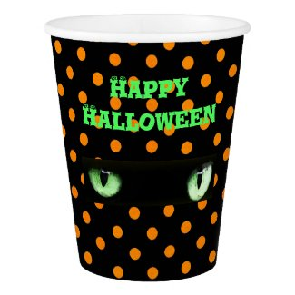 Happy Halloween Green Cat's Eyes Paper Cup
