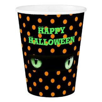 Happy Halloween Green Cat's Eyes Paper Cup