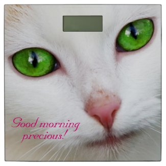 Good Morning Precious Green Eyed White Cat Scale Bathroom Scale