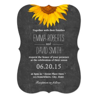 Vintage Sunflower Chalkboard Wedding Invitations