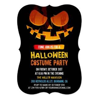 Wicked Jack-O-lantern Pumpkin Face Halloween Party Card