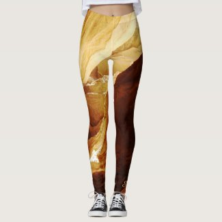 Abstract Leggings, Brown and Gold with Name Leggings