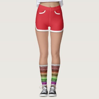 Retro 80s Red Sport Shorts Leg Warmers Leggings