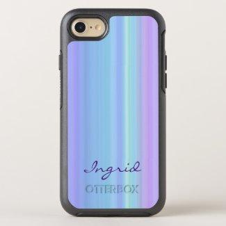 Pastel Rainbow Purple Blue Green OtterBox Symmetry iPhone 7 Case