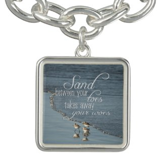 Sand Between Your Toes Beach Quote Charm Bracelet