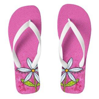Whimsical White Daisy Flower Pink Flip Flops