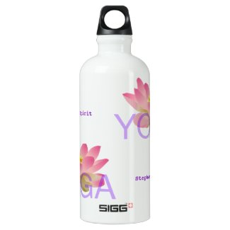 Pink Lotus Flower Yoga Aluminum Water Bottle