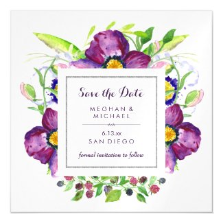 Purple Anemone Watercolor Flowers Save the Date Magnetic Card