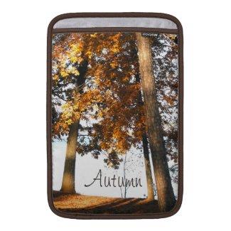 Fall maple tree leaves autumn monogram MacBook air sleeves