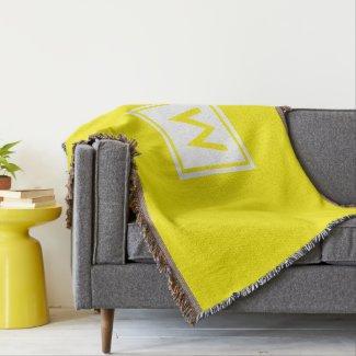 Monogram Yellow Plain Simple Color Square Custom Throw