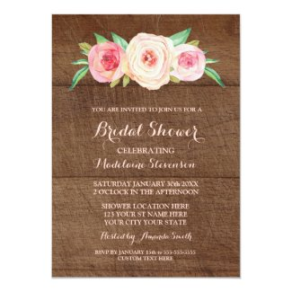Blush Pink Floral Wood Bridal Shower Card