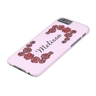 Red Roses Flower Border with Personalized Name Barely There iPhone 6 Case