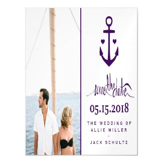 Purple Nautical Wedding Photo Save the Date Magnet Magnetic Card