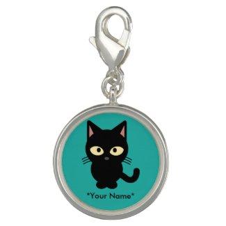 Custom Name Black Kitten Charm
