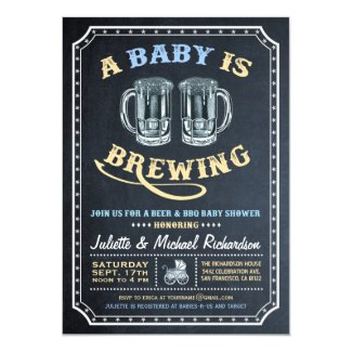 """A Baby is Brewing"" Baby Shower Invitations (Boy)"