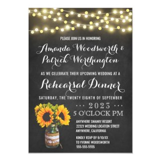 Sunflower Chalkboard Rehearsal Dinner Invitations