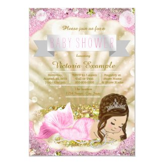 Pink and Gold Brunette Mermaid Baby Shower Card