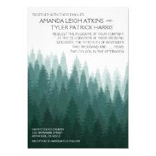 Rustic Evergreen Pine Tree Wedding Invitations