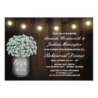 Mason Jar Baby Breath Rehearsal Dinner Invitations