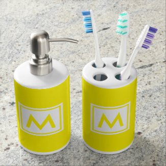 Monogram Yellow Trendy Simple Color Square Custom Soap Dispenser & Toothbrush Holder