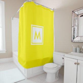 Monogram Yellow Plain Simple Color Square Custom Shower Curtain