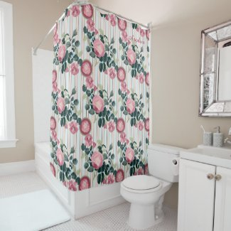 Pink Roses Illustration Blue Peach Stripes Pattern Shower Curtain