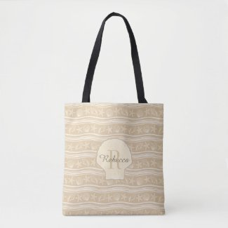 Beige And White Seashells Monogram Tote Bag
