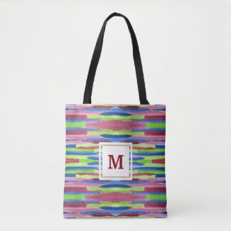 Monogram Watercolor Stripes Pattern Red Blue Green Tote Bag