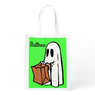 Ghostly Lime Green Trick or Treat Bag! Market Totes