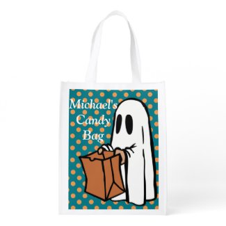 Personalize this Ghostly Trick or Treat Bag! Reusable Grocery Bags