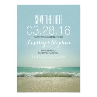 Modern beach wedding save the date cards