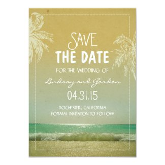 Beach sea & palm trees save the date cards