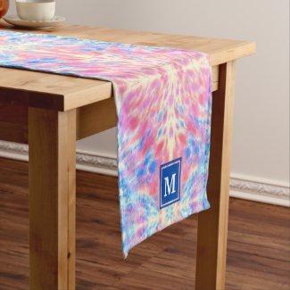 Monogram Watercolor Pink Blue Floral Fireworks Short Table Runner
