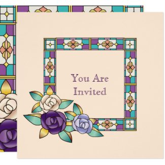 Stained Glass Hand-Drawn Roses Purple Peach Teal Card