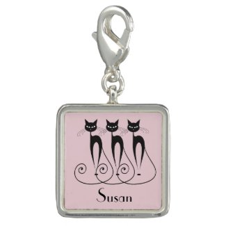Custom Name and Color Black Cat Charms