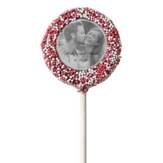 Pink Personalized Wedding Photo Cookie Pop