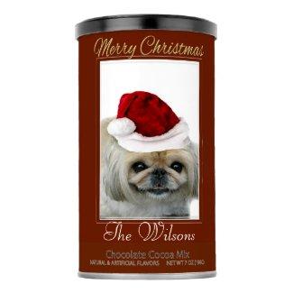 Christmas Pekingese dog Hot Chocolate drink mix